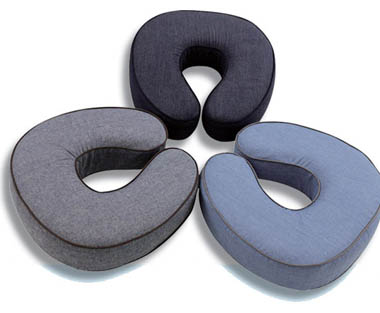 Soft Memory Foam Neck Pillow with Chambray Cover